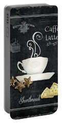 Deja Brew Chalkboard Coffee 2 Caffe Latte Shortbread Chocolate Cookies Portable Battery Charger by Audrey Jeanne Roberts
