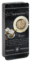 Deja Brew Chalkboard Coffee 3 Cappuccino Cupcakes Chocolate Recipe  Portable Battery Charger by Audrey Jeanne Roberts