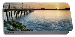 Del Norte Pier And Spring Sunset Portable Battery Charger by Greg Nyquist