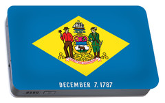 Portable Battery Charger featuring the photograph Delaware State Flag by Robert Banach