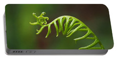 Delicate Fern Frond Spiral Portable Battery Charger by Rona Black