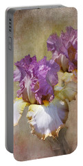 Delicate Gold And Lavender Iris Portable Battery Charger