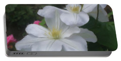 Delicate White Clematis Pair Portable Battery Charger by Smilin Eyes  Treasures