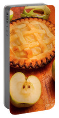 Delicious Apple Pie With Fresh Apples On Table Portable Battery Charger