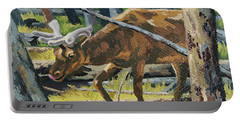 Portable Battery Charger featuring the painting Delicious Greens, Yellowstone by Erin Fickert-Rowland