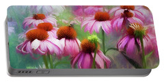 Portable Battery Charger featuring the digital art Delightful Coneflowers by Diane Schuster