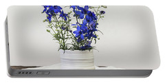 Portable Battery Charger featuring the photograph Delphinium Blue by Kim Hojnacki