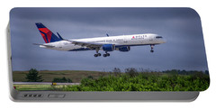 Delta Air Lines 757 Airplane N557nw Art Portable Battery Charger by Reid Callaway