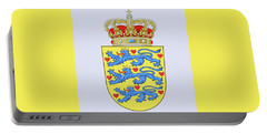 Portable Battery Charger featuring the drawing Denmark Coat Of Arms by Movie Poster Prints