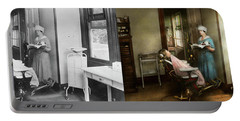 Portable Battery Charger featuring the photograph Dentist - Patients Is A Virtue 1920 - Side By Side by Mike Savad