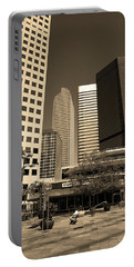 Portable Battery Charger featuring the photograph Denver Architecture Sepia by Frank Romeo
