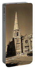 Portable Battery Charger featuring the photograph Denver Downtown Church Sepia by Frank Romeo