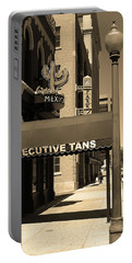 Portable Battery Charger featuring the photograph Denver Downtown Storefront Sepia by Frank Romeo