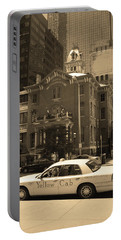 Portable Battery Charger featuring the photograph Denver Downtown With Yellow Cab Sepia by Frank Romeo