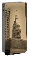 Portable Battery Charger featuring the photograph Denver - Historic D F Clocktower 2 Sepia by Frank Romeo