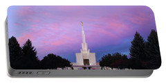 Denver Lds Temple At Sunrise Portable Battery Charger