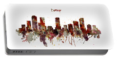 Portable Battery Charger featuring the mixed media Denver Skyline Silhouette by Marian Voicu