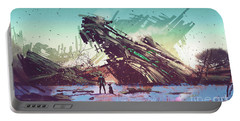 Portable Battery Charger featuring the painting Derelict Ship by Tithi Luadthong