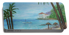 Portable Battery Charger featuring the painting Descanso Beach, Catalina by Lynn Buettner