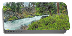 Deschutes River And Falls Portable Battery Charger by Nancy Marie Ricketts