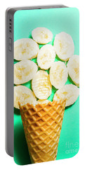 Desert Concept Of Ice-cream Cone And Banana Slices Portable Battery Charger
