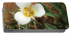 Portable Battery Charger featuring the painting Desert Mariposa Lily by Penny Lisowski