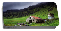 Deserted Barn In Iceland Portable Battery Charger