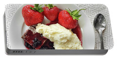Dessert With Strawberries And Whipped Cream Portable Battery Charger