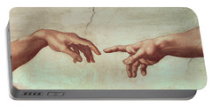 Detail From The Creation Of Adam Portable Battery Charger
