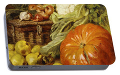 Detail Of A Still Life With A Basket, Pears, Onions, Cauliflowers, Cabbages, Garlic And A Pumpkin Portable Battery Charger by Eugene Claude