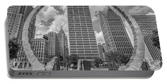 Detroit Hart Plaza And Cityscape  Portable Battery Charger