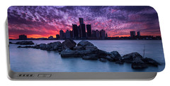 Detroit Skyline Clouds Portable Battery Charger