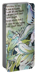 Portable Battery Charger featuring the painting Deuteronomy 6 5-6 by Mindy Newman