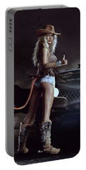 Portable Battery Charger featuring the digital art Devil In Blue Jeans by Shanina Conway
