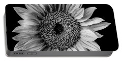 Dew Covered Sunflower In Black And White Portable Battery Charger