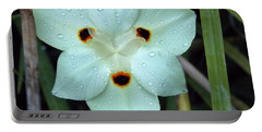 Portable Battery Charger featuring the photograph Dew Drops On White by John Glass
