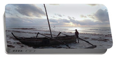 Dhow Wooden Boats At Sunrise With Fisherman Portable Battery Charger