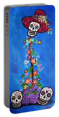 Portable Battery Charger featuring the painting Dia De Los Muertos by Pristine Cartera Turkus