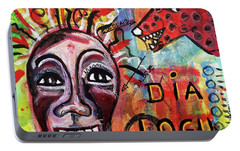 Portable Battery Charger featuring the mixed media Dialogue Between Red Dawg And Wildwoman-self by Mimulux patricia no No