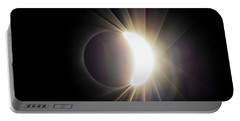 Portable Battery Charger featuring the photograph Diamond Ring With Flare During Solar Eclipse by Lori Coleman