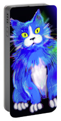 Portable Battery Charger featuring the painting Diego Blue Dizzycat by DC Langer