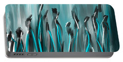 Differences - Turquoise Gray And Black Art Portable Battery Charger