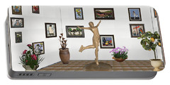 Portable Battery Charger featuring the mixed media digital exhibition _ A sculpture of a dancing girl 11 by Pemaro