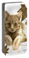 Digitally Enhanced Cat Image Portable Battery Charger