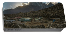 Portable Battery Charger featuring the photograph Dingboche Evening Sunrays by Mike Reid