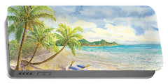 Dinghy On The Tropical Beach With Palm Trees Portable Battery Charger