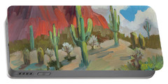 Portable Battery Charger featuring the painting Dinosaur Mountain by Diane McClary