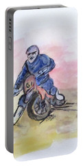 Portable Battery Charger featuring the painting Dirt Bike Racer by Clyde J Kell