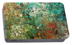 Portable Battery Charger featuring the painting Discovery - Abstract Art by Carmen Guedez