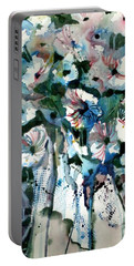 Portable Battery Charger featuring the painting Disney Petunias by Mindy Newman